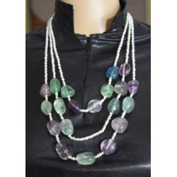 Fluorite pearl necklace